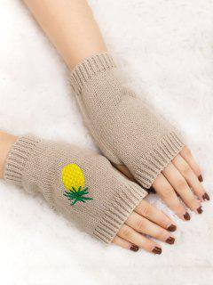 Halloween Pineapple Embroidery Fingerless Knit Gloves - Beige