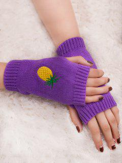 Halloween Pineapple Embroidery Fingerless Knit Gloves - Purple