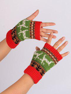 Christmas Deer Embroidery Flanging Fingerless Gloves - Red