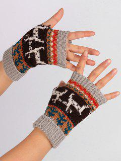 Christmas Deer Embroidery Flanging Fingerless Gloves - Light Gray