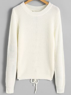 Ribbed Back Lace Up Sweater - Off-white