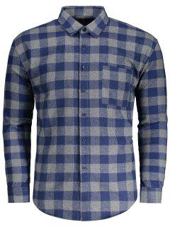 Pocket Flannel Plaid Shirt - Plaid M