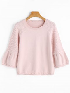 Cropped Textured Sweater - Shallow Pink M