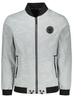 Camo Patch Design Jacket - Light Gray Xl