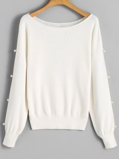 Faux Pearl Slit Sleeve Sweater - White