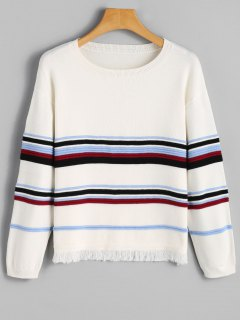 Striped Frayed Hem Sweater - White M