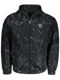 Patch Hooded Windbreaker Jacket - Black 5xl
