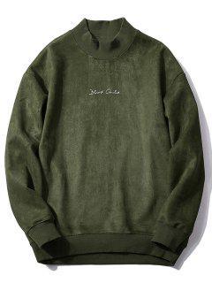 Crew Neck Graphic Print Suede Sweatshirt - Army Green M