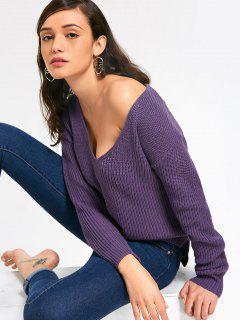 Suéter De Cuello En V Con Nervaduras - Púrpura