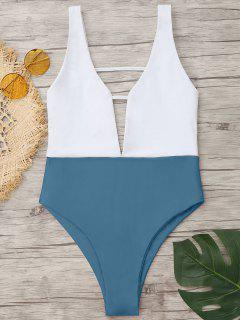 High Cut Two Tone One Piece Swimwear - Blue Gray S