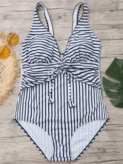 Drawstring Striped Plus Size Swimwear - Blue And White Xl