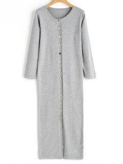 Button Up Sweater Dress - Gray
