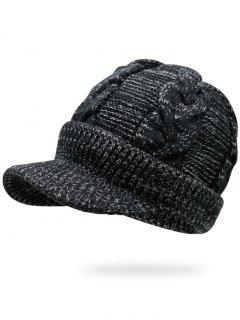 Mixcolor Cable Knit Military Hat - Deep Gray