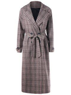 Double Breasted Plaid Trench Coat - Dusty Grey 2xl