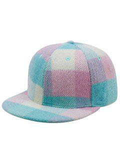 Checkered Pattern Woolen Yarn Baseball Cap - Lake Blue