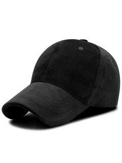Faux Suede Plain Baseball Hat - Black