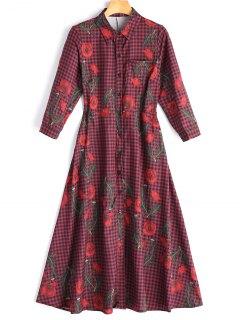 Floral Checked Midi Shirt Dress - Checked L