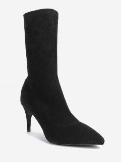 Pointed Toe Stiletto Mid Calf Boots - Black 38