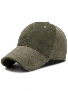 Faux Suede Plain Baseball Hat - Army Green