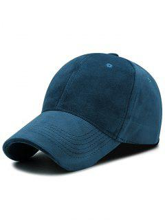 Faux Suede Plain Baseball Hat - Ink Blue