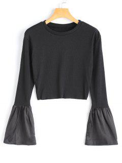 Satin Panel Ribbed Crop Top - Black S