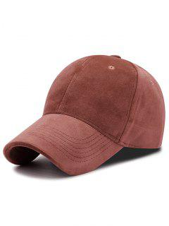 Faux Suede Plain Baseball Hat - Rosy Brown