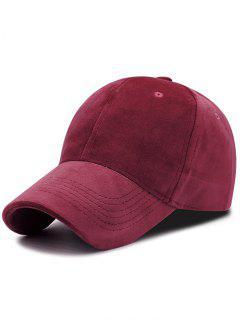 Faux Suede Plain Baseball Hat - Claret