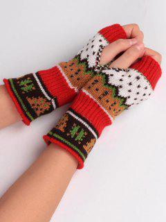 Christmas Tree Crochet Knitting Fingerless Gloves - Red