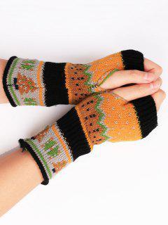 Christmas Tree Crochet Knitting Fingerless Gloves - Black