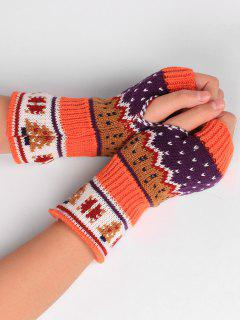 Christmas Tree Crochet Knitting Fingerless Gloves - Mandarin