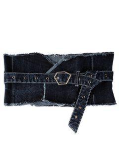 Metal Irregular Buckle Denim Waist Belt - Blue Jeans