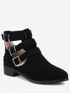 Ankle Hollow Out Buckle Strap Boots - Black 40