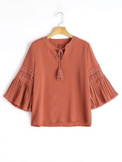 Flare Sleeve Crochet Panel Tassels Blouse - Rouille S