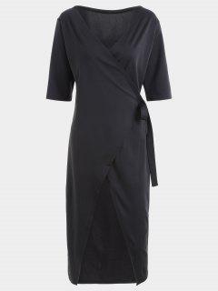 Half Sleeve Midi Wrap Dress - Black M