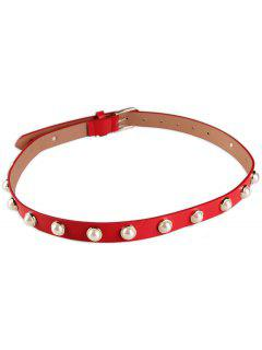 Faux Pearl Pin Buckle PU Leather Belt - Red