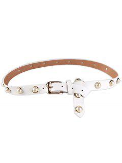 Faux Pearl Pin Buckle PU Leather Belt - White