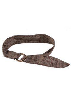 Plaid Print Adjustable Cloth Belt - Brown