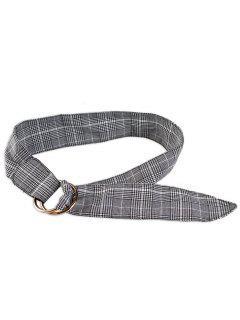 Plaid Print Adjustable Cloth Belt - Gray