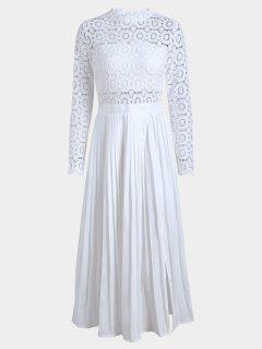 Slit Lace Panel Pleated Dress - White S