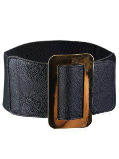 Vintage Metallic Buckle Faux Leather Wide Waist Belt - Black