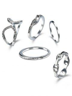Rhinestone Circle Cuff Ring Set - Silver