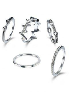 Rhinestone Bows Round Finger Ring Set - Silver