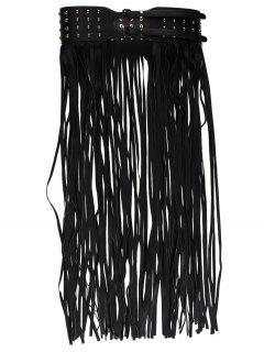 Rivet Embellished Long Tassel Skirt Belt - Black