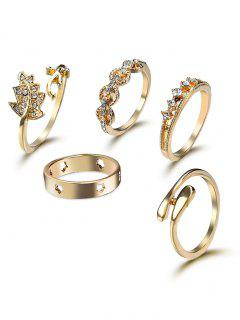 Rhinestone Star Leaf Cuff Ring Set - Golden