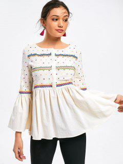 Flare Sleeve Polka Dot Embroidered Blouse - Off-white S