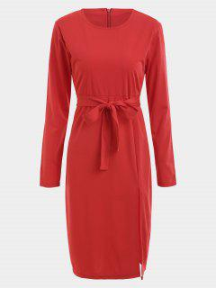 Belted Slit Long Sleeve Dress - Red S