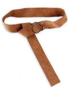 Double Prong Oval Suede Waist Belt - Brown
