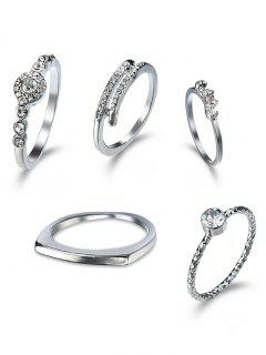 Rhinestone Finger Circle Ring Set - Silver