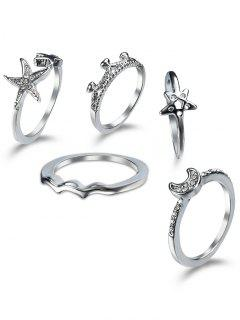 Rhinestone Star Moon Cuff Finger Ring Set - Silver