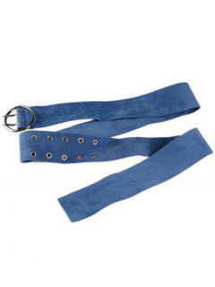 Double Prong Oval Suede Waist Belt - Blue